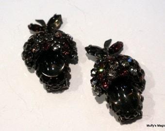 Vintage Pair Schreiner Rhinestone Acorn Fruit Fur Clips