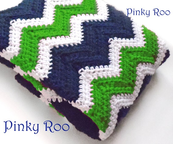 Crochet chevron baby blanket in Navy Blue White and by PinkyRoo