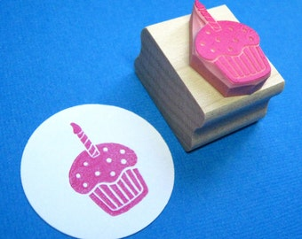 Cupcake Stamp - Birthday Cupcake with Candle Hand Carved Rubber Stamp - Cake Stamper - Muffin Stamp - Birthday Party - Party Invitation