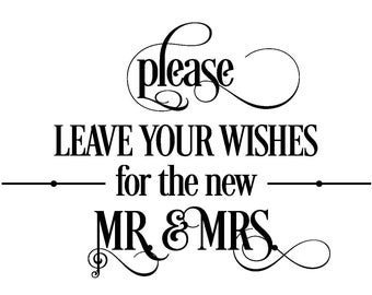 DIY Printable Wedding Sign - Wishes, Wedding and Event Signage - Your choice of colors - Digital Download - pdf file -S-197