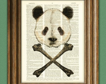 Bad Panda and Crossbones illustration Dictionary Page book art print cross bones