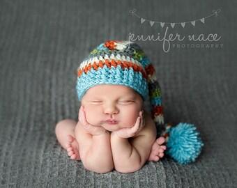 Elf Hat in Aqua, Orange, Cream, Grey and Sweet Pea Braided Tail