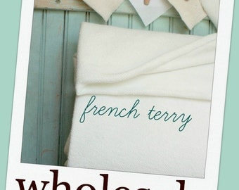 10 Yards Organic French Terry - GOTS Cert. Cotton US Made Soft Natural Knit Fabric Extra Wide White