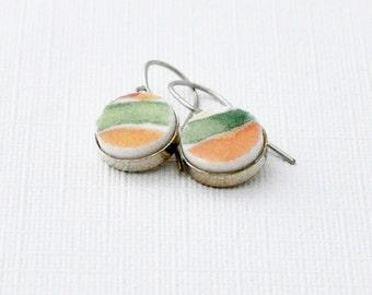 Broken Plate Earrings - Recycled Materials - Dangle - Orange - Green - Fine China