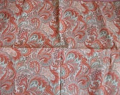 Coral and Green Paisly Party 1/2 Yard