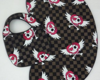 Checker Board Girly Winged Skulls Baby Bib and Burp Cloth Gift Set