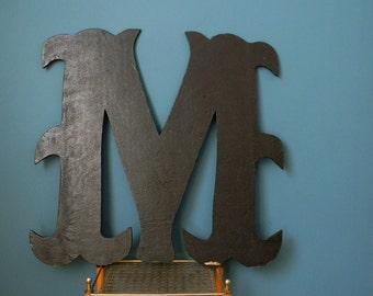 Vintage Extra Large Wooden Letter M