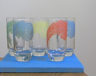 Vintage Set of 5 Drinking Glasses with Pastel Feathers