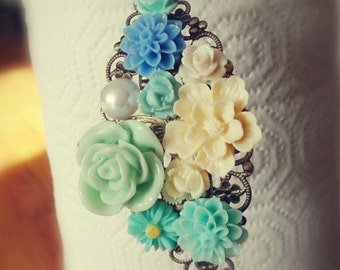 Blossom spring - Mint and cream flowers dhalia, rose, mum, sakura, pearl, blue mum antique bronze head band