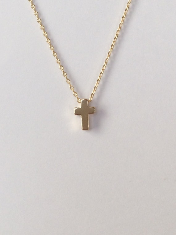 Tiny Gold Cross Necklace Small Cross By Brinandbell On Etsy