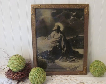 vintage Jesus Praying at Gethsemane by Domenico Mastroianni. Framed religious art print. Vintage Catholic decor
