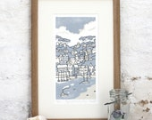 Hand Printed Puffing Across the Bay Linocut Print