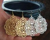 Large gold or silver filigree pendant earrings, matte silver, matte gold, fashion earrings, large pendant, filigree earrings, chandelier