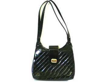 Vintage Diagonal Stripes Black Patent Leather Purse