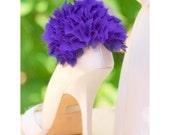 Shoe Clips Dark Deep Purple Ruffles. Handmade Gift, Feminine Delicate Bride Bridal, colors Ivory White, Wedding Date, Chiffon Organza Fabric