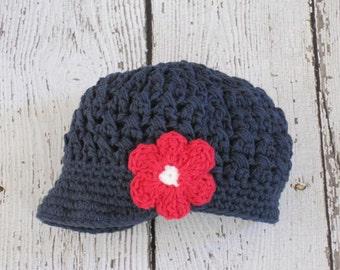 Girls Crocheted Hat,Girls Newsboy Hat,Childrens Newsboy Hat,Girls Brim Hat, 5T-Preteen