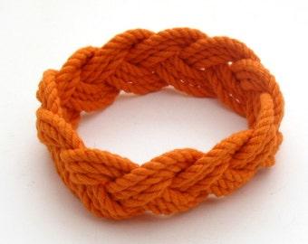 Rope Bracelet Orange Cotton Sailor Weave