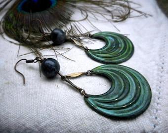 MOON OF ASGARD. Verdigris Cosmic elements & Black Labradorite Orb Earrings.