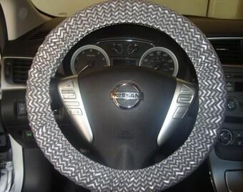 "Handmade Cotton ""Chevron"" Print Steering Wheel Cover"