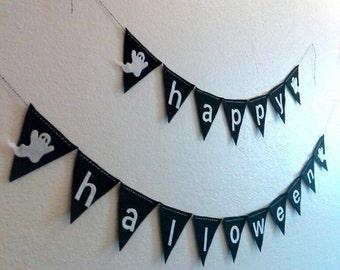Halloween Banner, Happy Halloween Ghost Banner, Pennant Banner, Black Spooky Garland