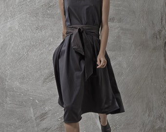 LAST SALE 50% off!!!! Forest dress, Black wool dress, classic shape, black wool belt