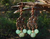 Green Jade and Carved Agate Dangle Earrings With Copper Ear Wires