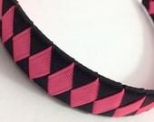 Bright Pink, Black Woven Headband - Handmade -  Black, Bright Pink Grosgrain Ribbon Woven Braided Headband - 1 inch Braided Headband
