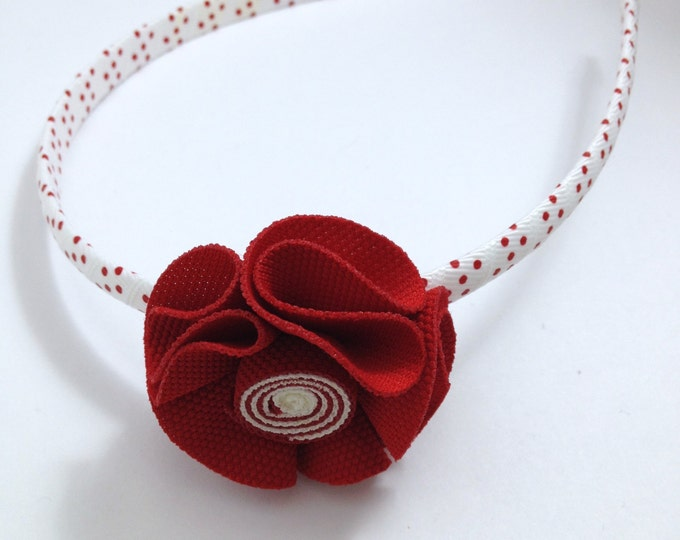 Red Hair Flower Headband -Handmade To Order