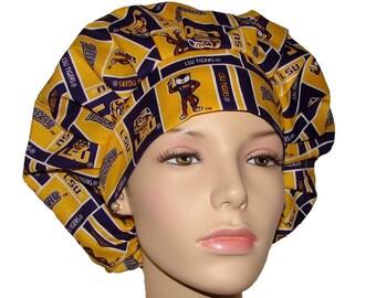 Scrub Hats - Louisiana State University Tigers Block Print
