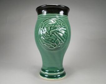Dragon Art Pilsner Beer Cup an Original Design Stoneware Pottery Sci-Fi/ Fantasy Art for Gamers, Renaissance Festivals or Home Bar Accessory