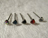 1 - Silver Tone Surgical Grade Stainless Steel rhinestone HEART  Nose Studs