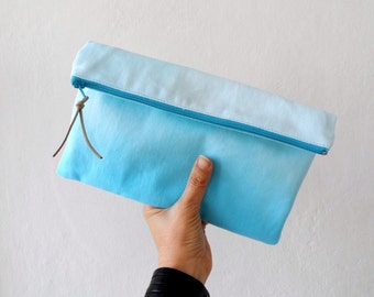 Hand Dyed Blue Ombre Clutch / Ombre zipper Pouch/ Summer fashion accessory