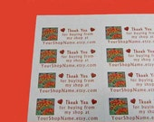 30 PERSONALIZED Thank You Labels. 1 Sheet of White 1-Inch Labels Printed in Color. 5283