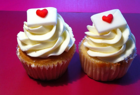 12 Valentine's Day fondant envelope and  heart stamp cupcake toppers