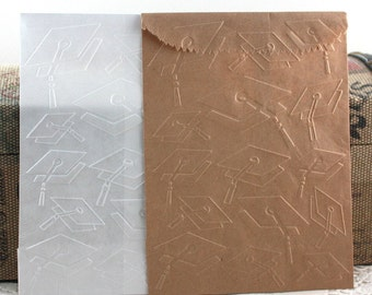 10 Graduation Embossed Paper Bags, Embossed Glassine Bags, Candy Bags, Party Supplies, Party Favor Bags, Treat Bags, Paper Goods
