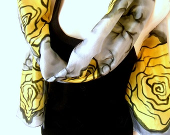 "Hand Painted Silk Scarf, Floral, Roses, Yellow Gray Black, 71"" x 18"" Long 100% Silk Scarf, Gift For Her"
