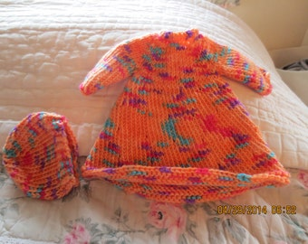 12 inch waldorf dress and hat orange multi colored