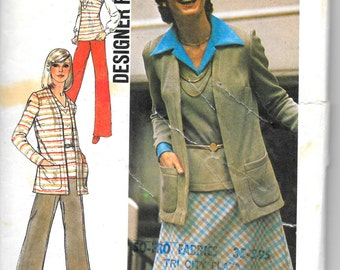 """SIMPLICITY 6516 Size 12 Bust 34"""", Designer Fashion Knit Cardigan, Skirt, Pants and Top Pattern Retro 1970's"""