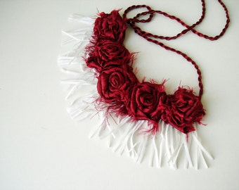 Wine floral choker necklace with white fringe  bib necklace, red statement necklace, short fringe necklace