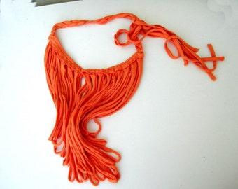 Orange Fringe Necklace, upcycled jewelry, Tshirt Statement Necklace