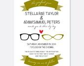 Perfect Pair Wedding Invitation, Glasses Invitation, Couple Invitation, Modern Wedding Invitation, Script Wedding Invitation, Geek Wedding