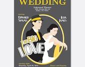 Theater Poster Wedding Invitation, Unique Wedding Invitation, Movie Wedding, Modern Wedding Invitation, Hollywood Wedding Invitation
