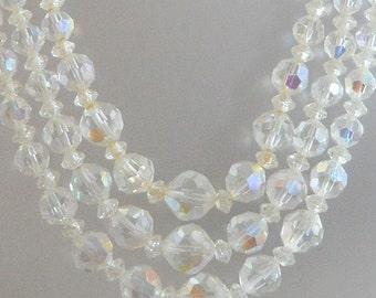 Vintage Austrian Crystal Necklace.  Clear.  Wedding.  Bridal.