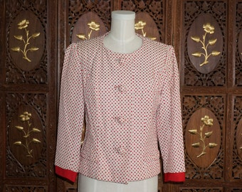 1950s MILGRIM Red & Cream Embroidered Cropped Jacket