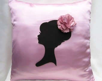 Romantic Cameo Sweet Pink And Black Pillow Cover. Lady With Pretty Floral Headpiece. Girls Room Decor