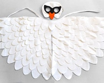 Childrens Swan Costume, White Bird Mask and Wing Set, Kids Dress up Toy, Halloween and Carnival, Girls and Toddlers,