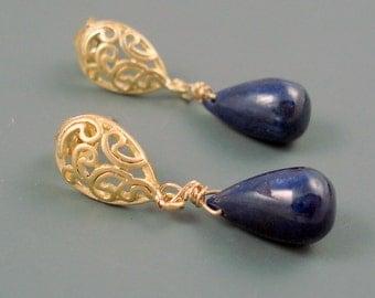 Sapphire Gemstone Earrings Sapphire Large Smooth Teardrops ON SALE were 49.00