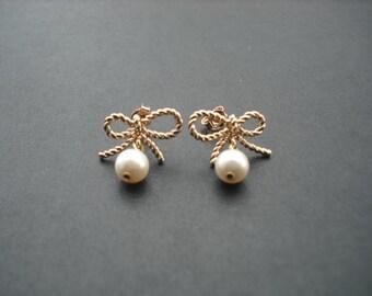 Rose Gold Lovely Ribbon earrings - sterling silver ear wires, Flower Girl Gift, Bridesmaid Gift, Birthday Gift, Wedding Gift