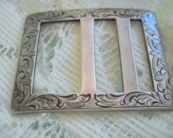 1920s Sterling Silver Engraved Ladies' Belt Buckle