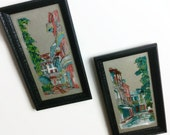1960s pair of reverse glass painted pictures New Orleans sidewalk in mod style and colors